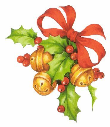 CHRISTMAS BELLS, HOLLY AND RED BOW CLIP ART:
