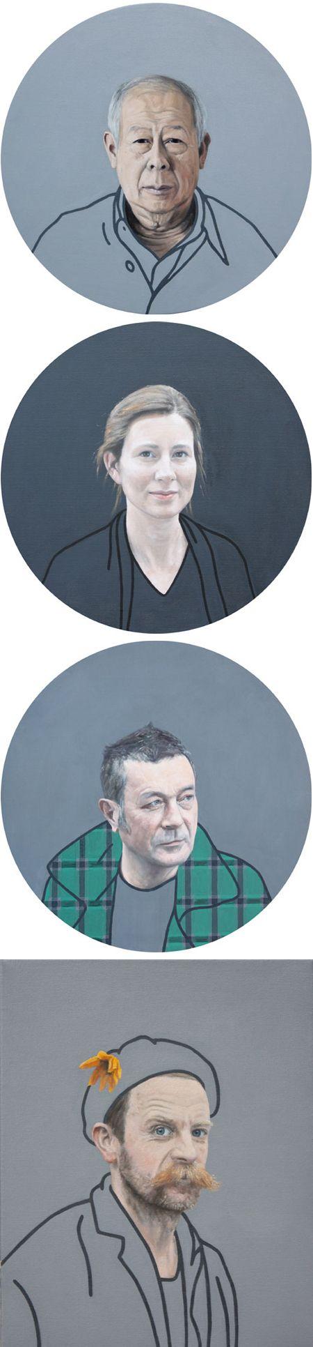 ben hughes - portraits (half detailed / half line drawing)