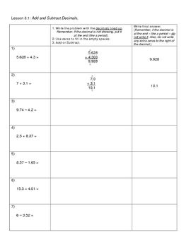 math worksheet : this is a worksheet that breaks down the steps for adding and  : Adding And Subtracting Decimals Worksheets Pdf