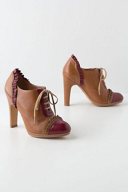 Bordeaux-Ruffled Oxford Heels - Cute for fall