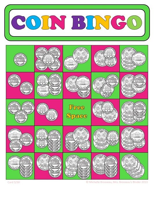 math worksheet : money math  adding coins bingo cards  30 unique cards  coin  : Math Bingo Worksheets