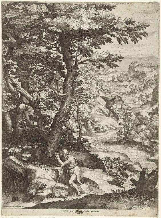 Cornelis Cort | Landschap met Johannes de Doper, Cornelis Cort, Bonefatio Breggi, Gregorius XIII, c. 1573 | Glooiend rivierlandschap met biddende Johannes de Doper. Naast de knielende figuur ligt een lam.