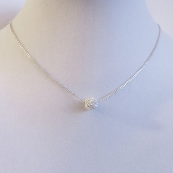 Minimalist Sterling Silver Necklace Silver Ball 8 by SirryDesign
