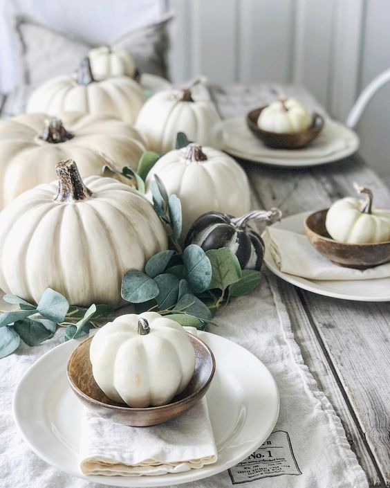 White Pumpkins for centerpiece and fall decor
