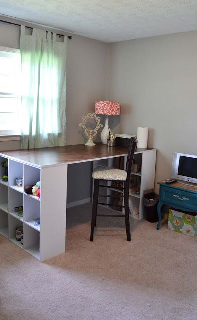 DIY Craft table and room design...would love to have one of these eventually downstairs for wrapping, scrapbooking.. ect