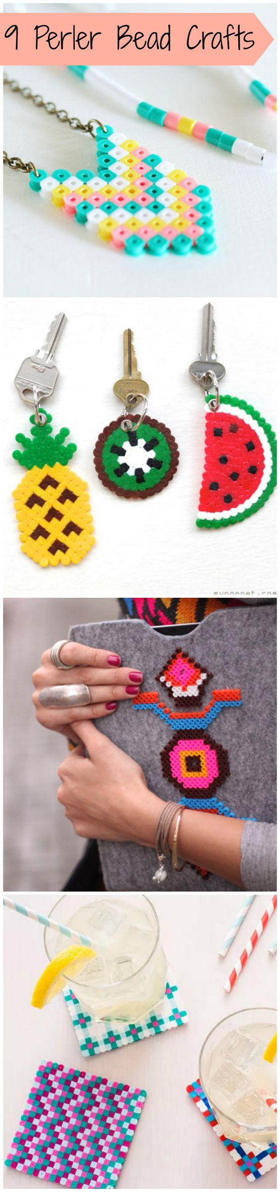 Cute (and Nostalgic!) Perler Bead Crafts - Use the plastic beads to make jewelry, key chains, coasters, or even DIY an tablet cover.