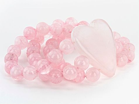 Pink Rose /& Hearts Gemstone Stretch Bracelet