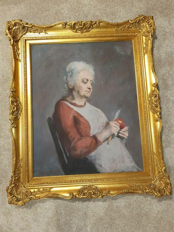 ORIGINAL Frank Vincent Dumond (1865-1951) Canvas Oil Painting Old Lady SIGNED