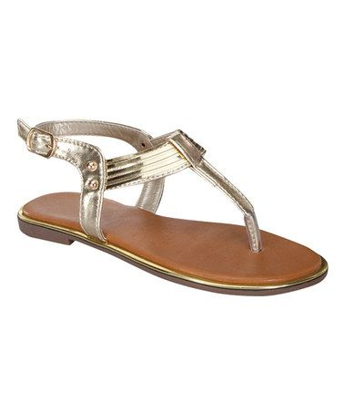 Another great find on #zulily! Gold T-Strap Kerry Sandal by Link #zulilyfinds