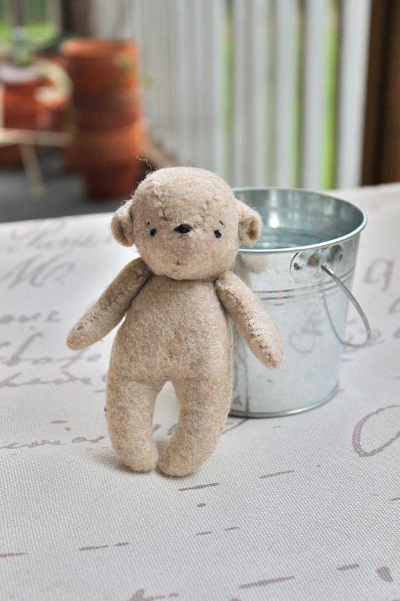 Bear Toy Felt Teddy Bear Tati Woodland Bear Cub by DesignbyTati