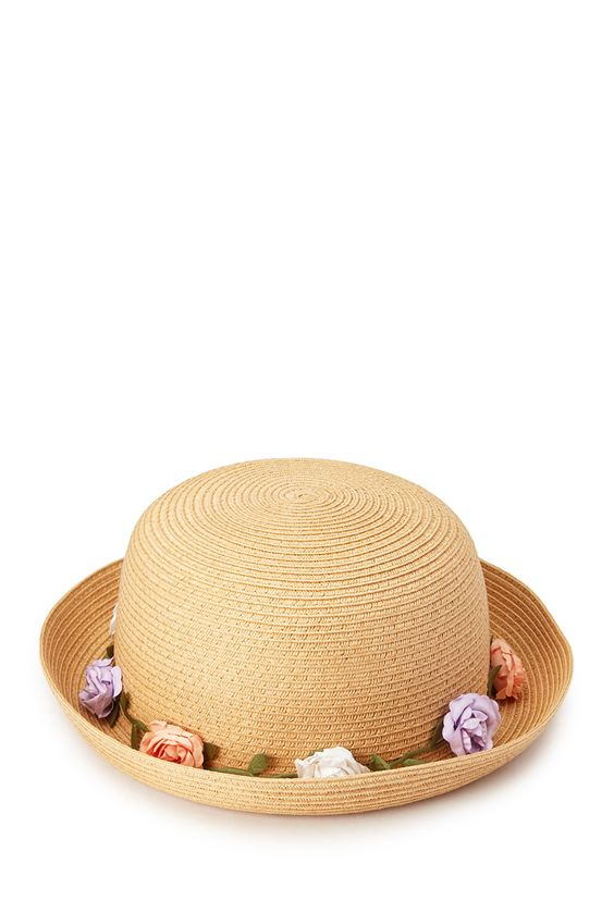 Garden Girl Straw Bowler | FOREVER21 Flower trimmed accessories for spring! #Accessories #Hat #Floral