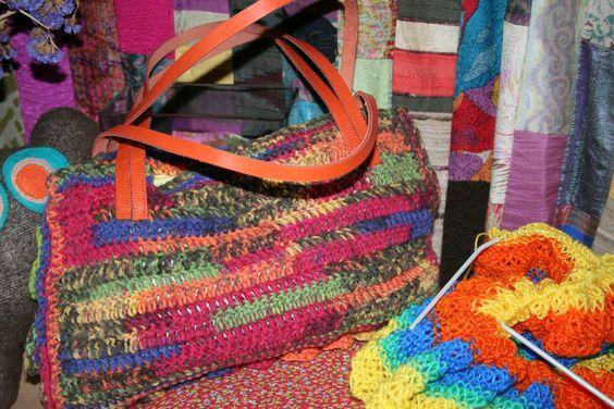 Bolsa Jacquard Color croché handmade (vista de traz)