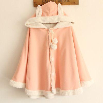Harajuku cute bunny ears cape coat