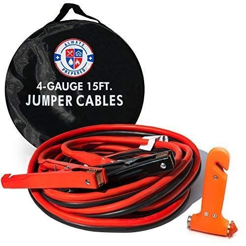 Jumper Cables 4 Gauge 15 Feet W Carry Bag And Emergency Auto Escape Tool Quality Battery Booster Cables W High Car Emergency Kit New Cars Roadside Assistance