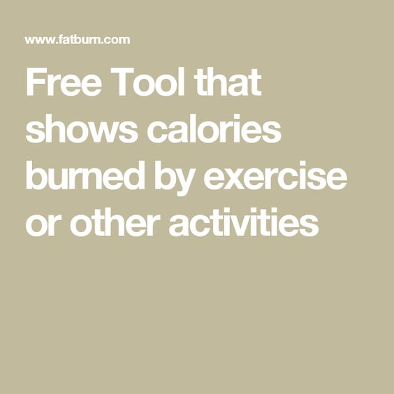 Free Tool that shows calories burned by exercise or other activities