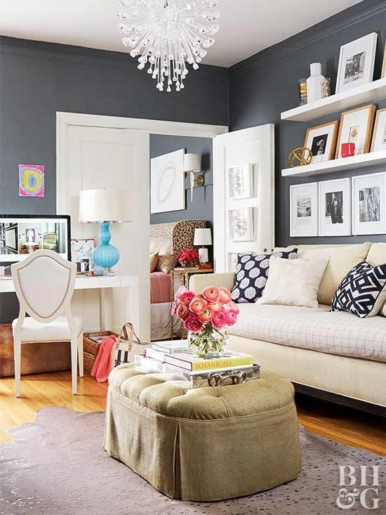 This Small Apartment Got A Glamorous Redesign Living Room Grey Glamour Living Room Paint Colors For Living Room