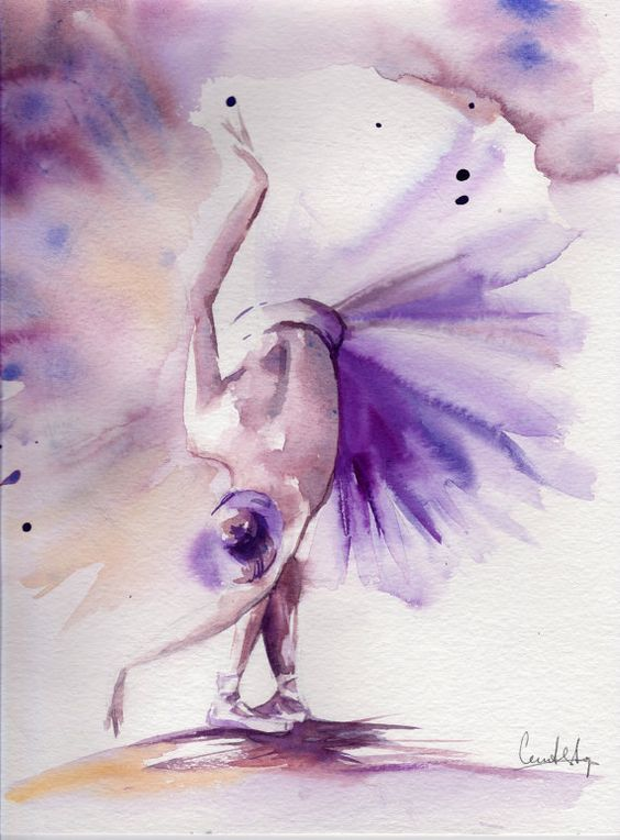 Aquarelle originale de la ballerine en violet, danse Ballet Art