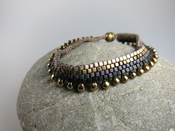 "Perlenarmband ""Schwarz Bronze Mogador"""