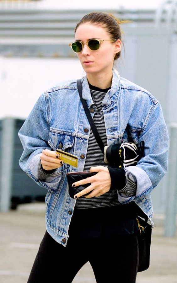 rooney mara denim jacket street style: