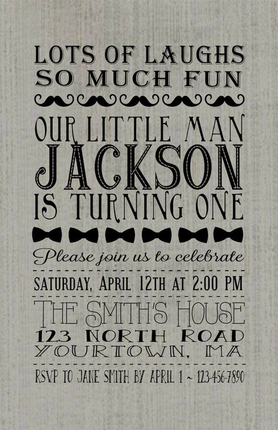 Little boy custom birthday invitation, first birthday, mustache, bow tie, lots of laughs so much fun our little man is turning one.