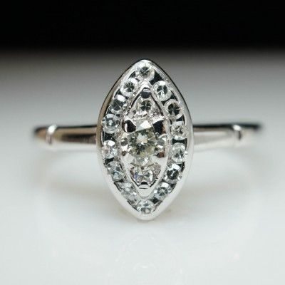 Vintage Antique .34ct Diamond Cluster Ring in 14k White Gold - Size 7.25 -- Each vintage piece has been professionally polished, restored, & appraised. These items come with our 100% money back guarantee and an independent gemological report.