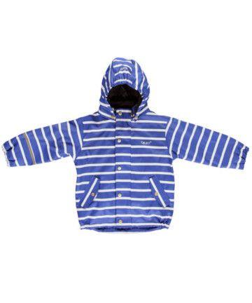 Chubasquero azul con rayas blancas