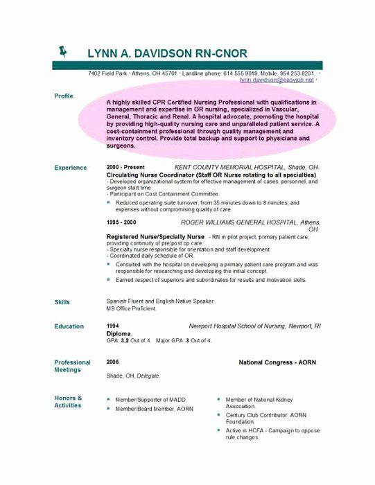 Nursing Resume Objective Example Lovely Cv Objective Statement
