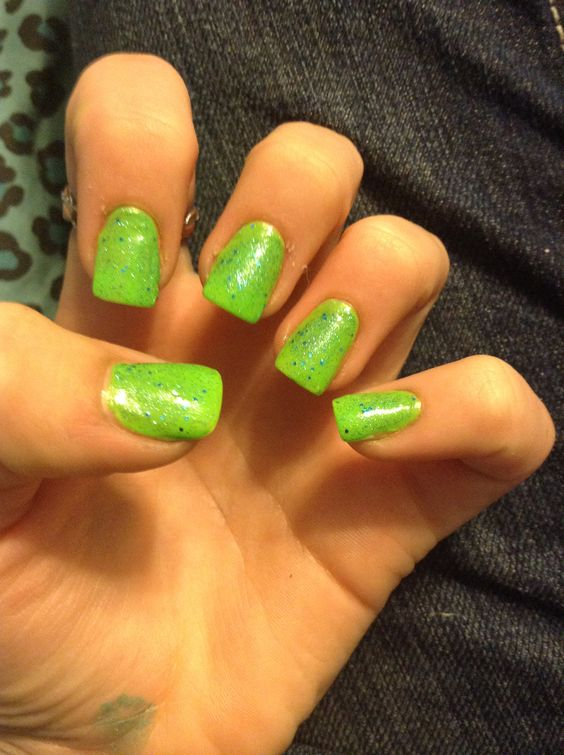 Neon green nails with blue glitter for st Patricks day!