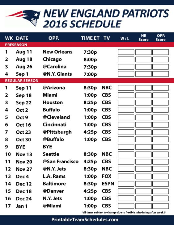 2016-17 New England Patriots Schedule