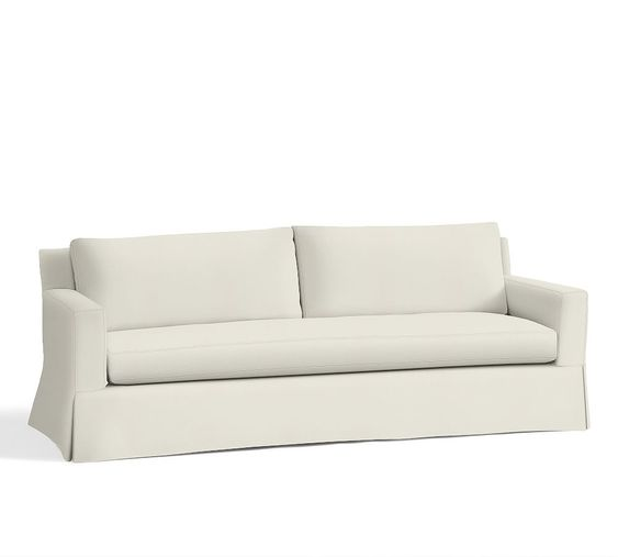 York Square Arm Grand Sofa with Bench Cushion Slipcover, Washed Linen-Cotton Ivory