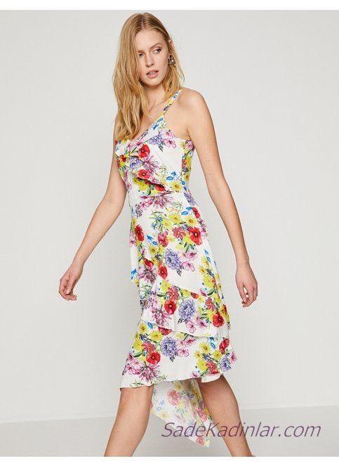 Koton Elbise Modelleri Beyaz Askili Firfir Detayli Asimetrik Etekli Elbise Modelleri The Dress Elbise