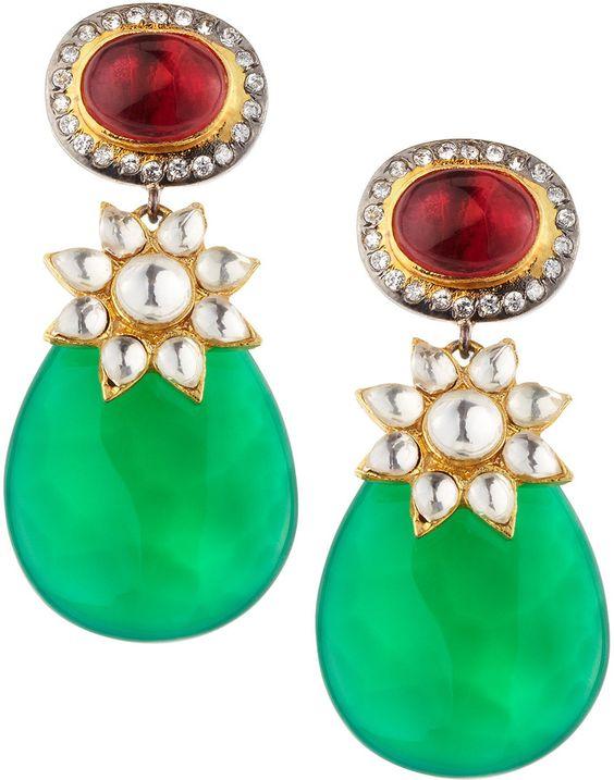 Blossom Box Green Glass Teardrop Earrings on shopstyle.com