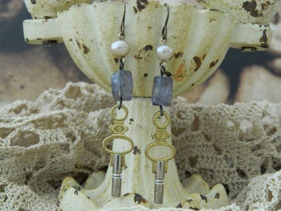 Vintage Pocket Watch Key and Iolite Dangle Earings by 58Diamond, $45.00