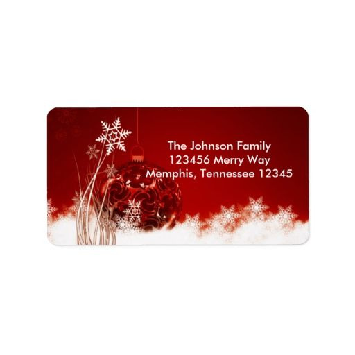 Red Christmas Ornament Holiday Address Labels