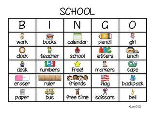 First Grade a la Carte: beginning of the year BINGO