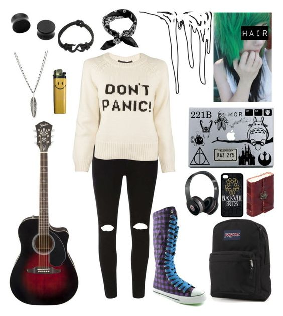 """""""I'm Just The Weird Girl"""" by annakazam ❤ liked on Polyvore featuring Dorothy Perkins, Marc by Marc Jacobs, Michael Aram, JanSport, Disney, Music Notes, Beats by Dr. Dre and Icon"""