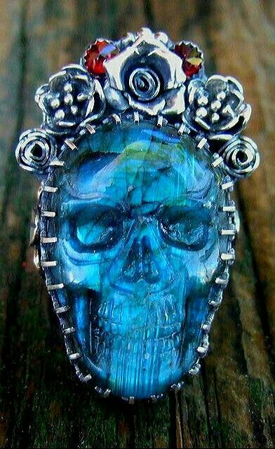Blue-Ice-Veins: Labradorite Skull Ring by Elizabeth K Payne.