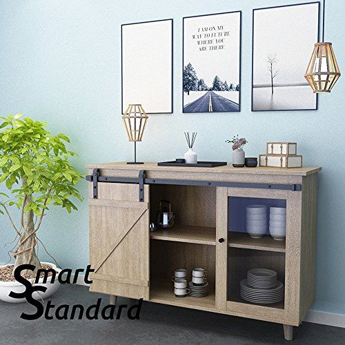 I Shape Hanger NO Cabinet Black Easy to Install Fit 30 Wide Single DoorPanel One-Piece Track Rail SMARTSTANDARD 5FT Mini Sliding Barn Door Cabinet Hardware Kit for Cabinet TV Stand Closet