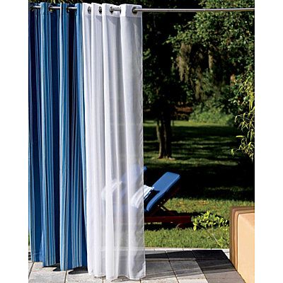 Outdoor Curtain Panels As A Temporary Privacy Solution For Our Open Backyard For The Home