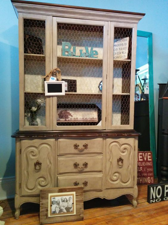 Stains beautiful and chicken wire on pinterest for Cece caldwell kitchen cabinets