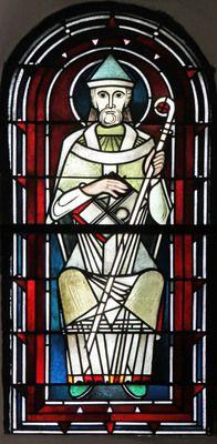 Glasmalerei St. Augustinus von Hippo. Wilhelm Schmitz-Steinkrüger, vor 1953 Fenster im Chor, Antikglas/Blei/Schwarzlot