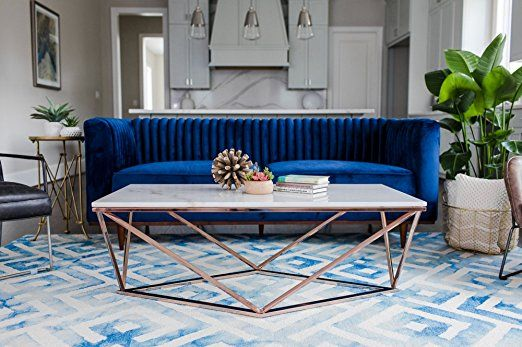 Amazon Com Stella White Marble Coffee Table Modern Gold Coffee Tables For Living Room Rose Gold Kit Gold Coffee Table Coffee Table Rose Gold Coffee Table