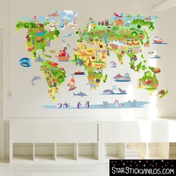 Mapa mundi con dibujos vinilo infantil de pared ideal - Paredes con dibujos ...