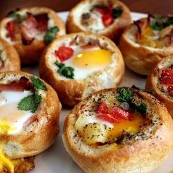 """Breakfast in a Bread Bowl - They're like """"Breakfast Grenades"""" :)"""