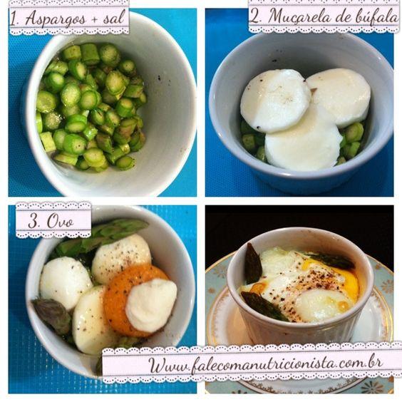 Ovos em cocotte com aspargos e muçarela de búfala | Fale com a Nutricionista