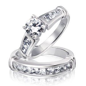 Bling Jewelry .925 Sterling Silver Solitaire and Princess Cut Engagement Wedding Ring Cz Set - 5 --- http://www.pinterest.com.mnn.co/2hn
