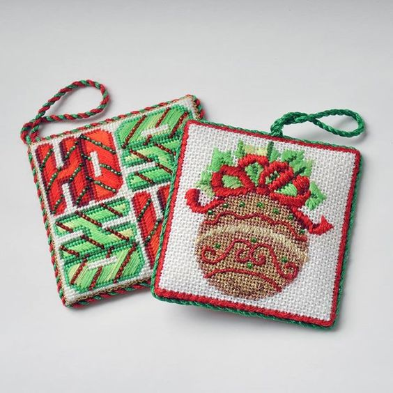 Burnett and Bradley needlepoint ornaments make the best decorations for your tree!