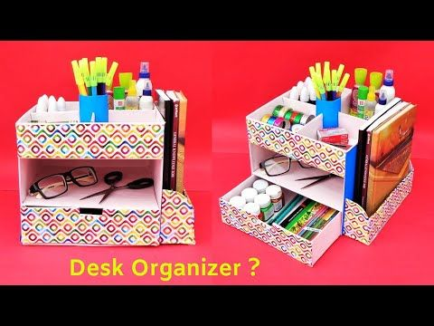 How To Make Desk Organizer With Cardboard Youtube Desk Organization Diy Desk Organization Diy Paper Crafts Decoration