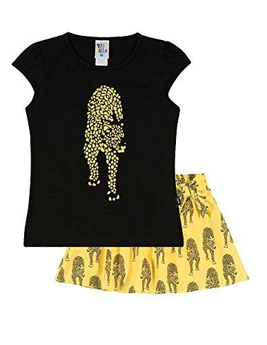 Girls Outfit Graphic Tee and Skort Kids Set Pulla Bulla Size 4-6 Years - Black. This light weight shirt and skort outfit comes in the colors black and sun. The solid crew neck t-shirt features a cheetah with rhinestone. Skort features a printed cheetah print. Shirts and shorts are composed of 96% high quality cotton and the skirt is 67% Viscose and 33% Polyamide. Machine washable - Made in Brazil.