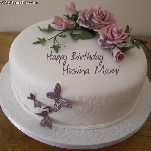 Popular Name Pix Birthday Cake With Flowers Butterfly Birthday